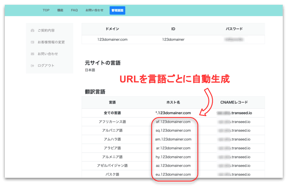 翻译的语言列表